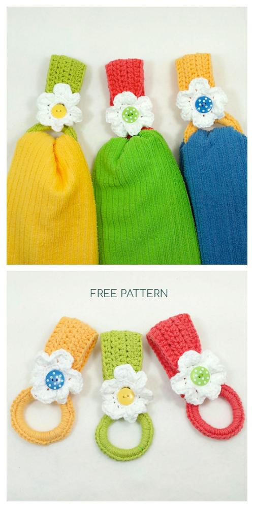 Hanging Daisy Towel Holder Free Crochet Patterns