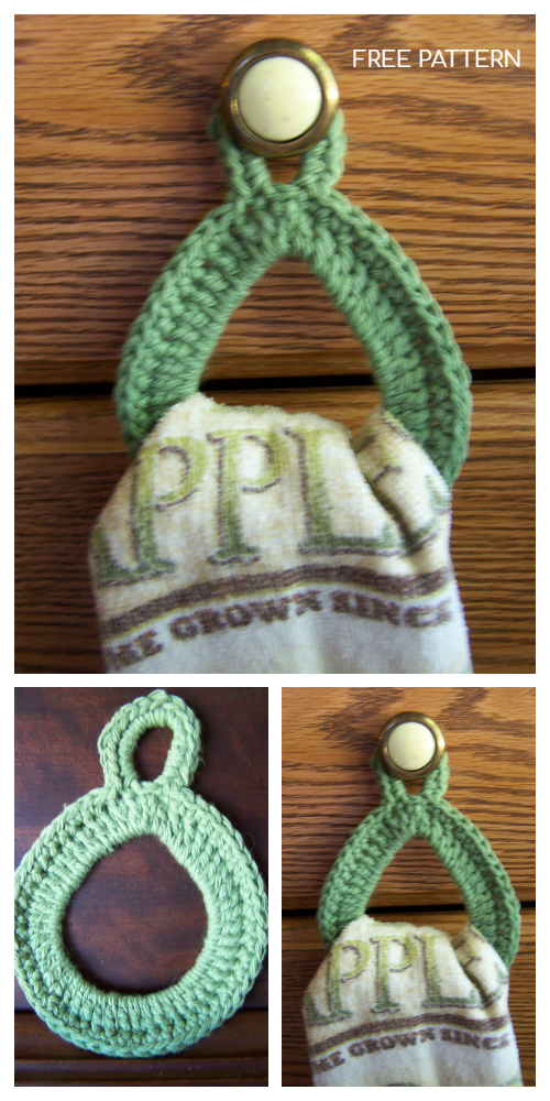 Crochet Dish Towel Ring - Knob Edition Free Crochet Pattern