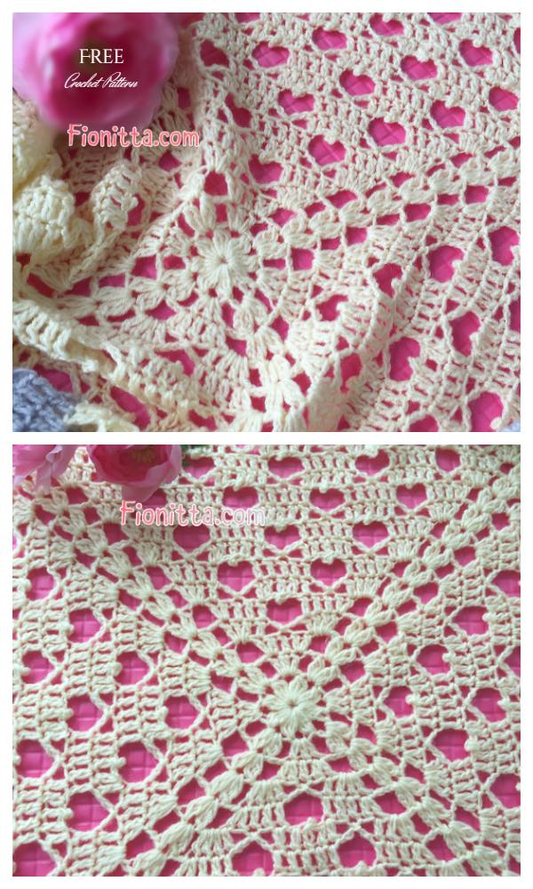 Crochet Hearts Square Lace Blanket Free Crochet Pattern + Video