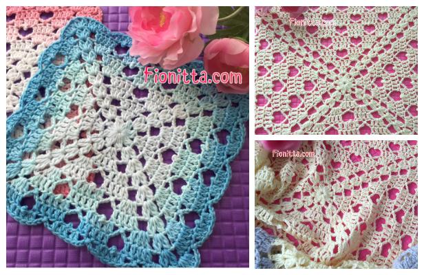 fabartdiy Hearts Square Lace Blanket Free Crochet Pattern ft