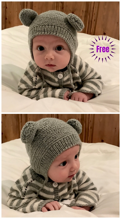 Knit Bearly Bear Bonnet Hat Free Knitting Pattern