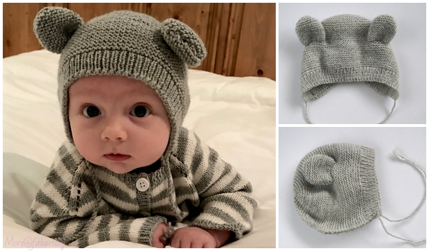 knit bearly bear bonnet hat free knitting pattern. Black Bedroom Furniture Sets. Home Design Ideas