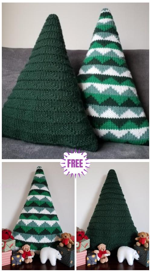 Knit Christmas Tree Cushions Free Knitting Pattern