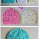 Knit Eyelet Baby Hat Free Knitting Patterns (Size Preemie - 3)