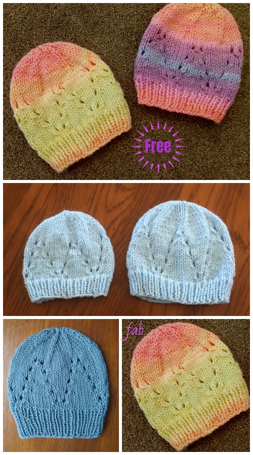 Knit Eyelet Baby Hat Free Knitting Patterns (Size Preemie - 3)