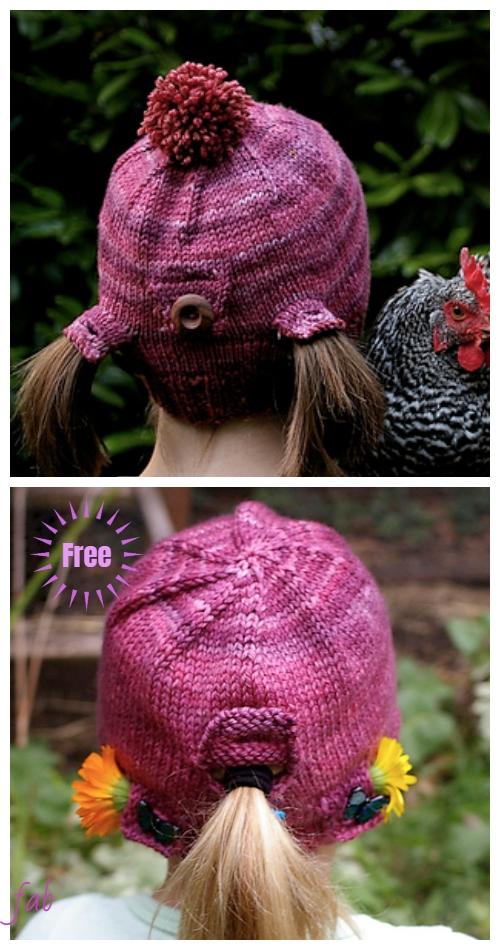 Knit Girls Urban Homesteader Ponytail Hat Free Knitting Pattern
