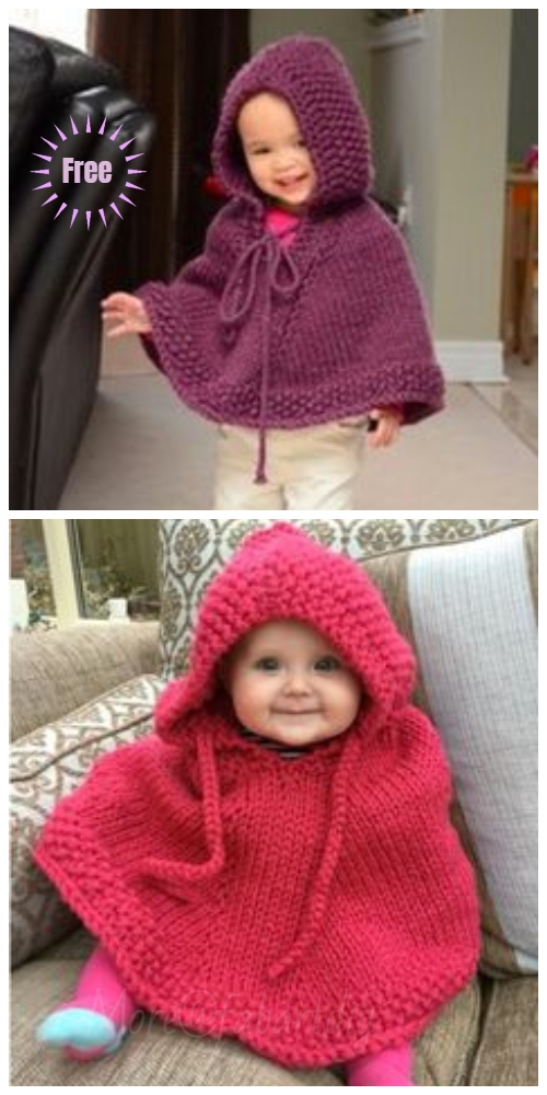Knit Little Peach Baby Poncho Free Knitting Pattern