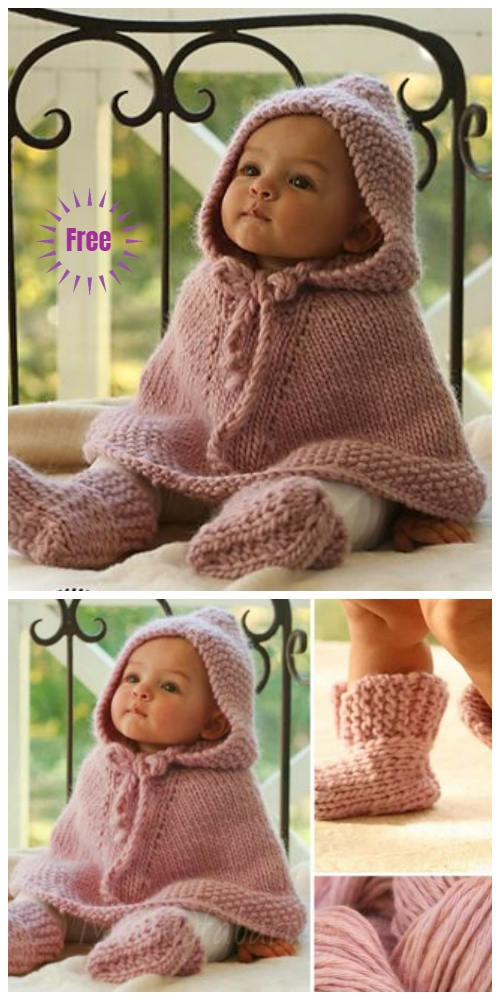 Knit Little Peach Baby Poncho Free Knitting Pattern - DIY Magazine