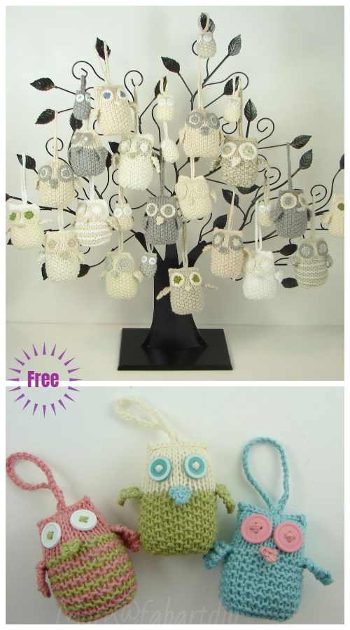 Christmas Knit Owl Ornaments Free Knitting Patterns