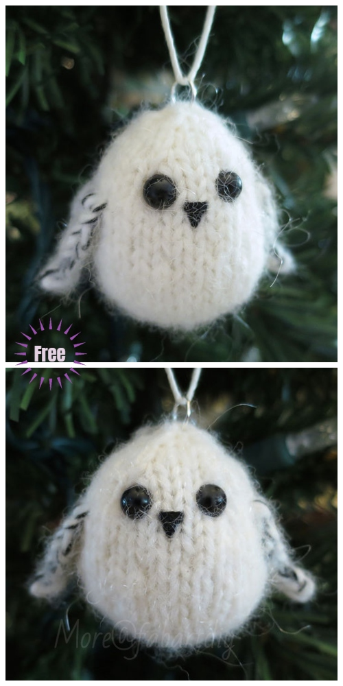Christmas Knit Snowy Owl Ornaments Free Knitting Patterns