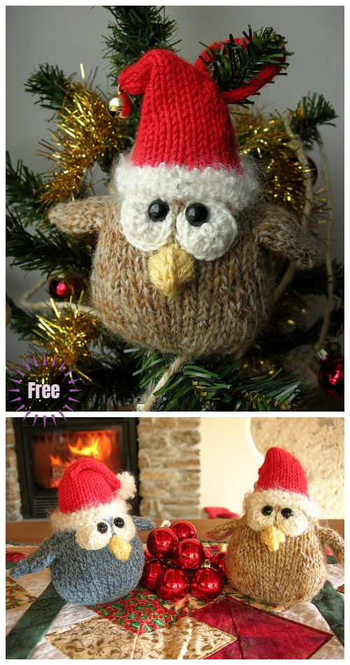 Christmas Knit Mini Cordell Xmas Owl Ornaments Free Knitting Patterns