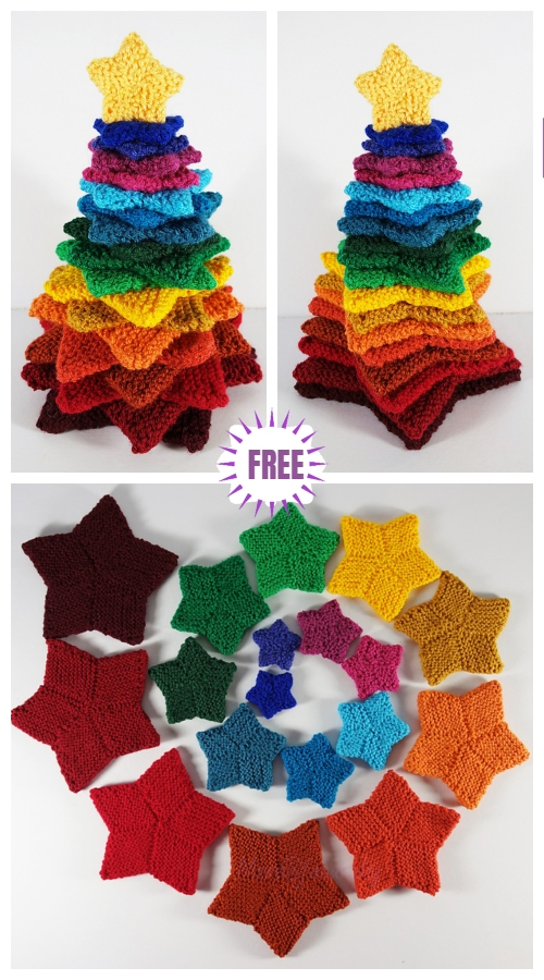 Knit Rainbow Stacking Stars Christmas Tree Free Knitting Pattern