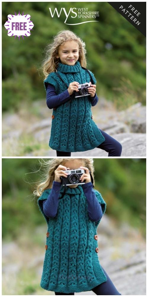 Knit Sorcha Girls Cabled Tunic Free Knitting Pattern