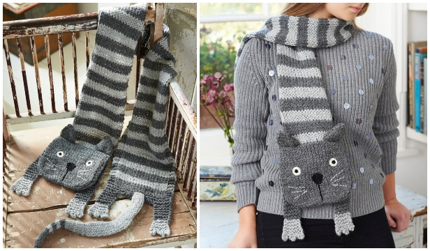 Knit Tabby Cat Scarf Free Knitting Pattern