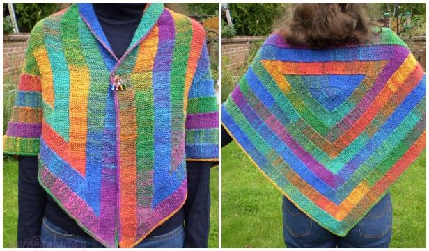 Knit Ten Stitch Triangle Shawl Free Knitting Pattern