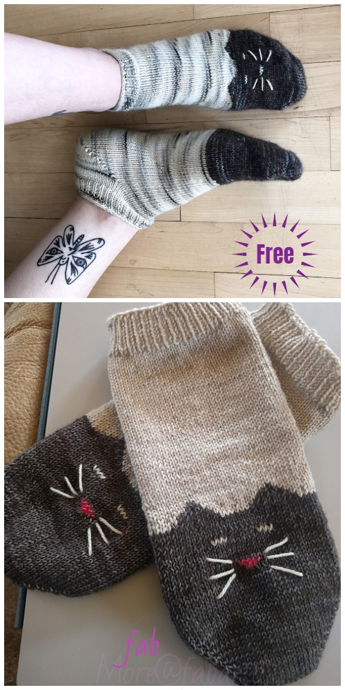 Knit Ying Yang Kitty Cat Ankle Sock Free Knitting Pattern