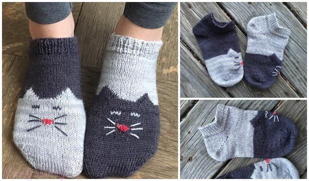 Knit Ying Yang Kitty Cat Ankle Sock Free Knitting Pattern