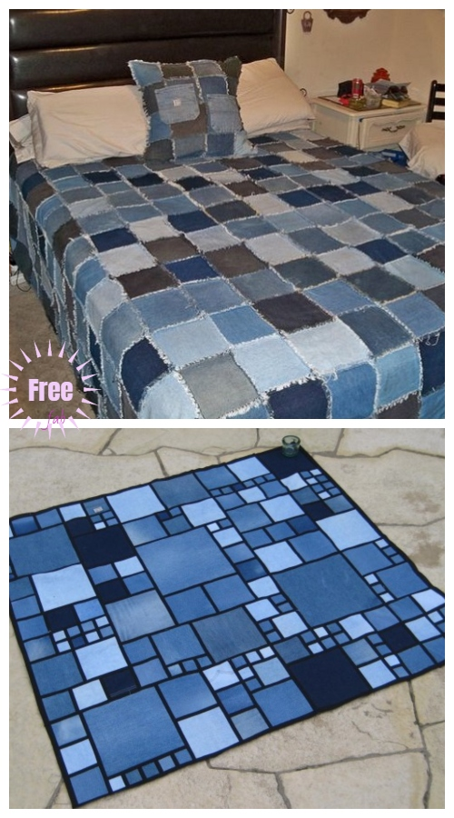 Recycled Jean Patchwork Quilt Blanket DIY Tutorial