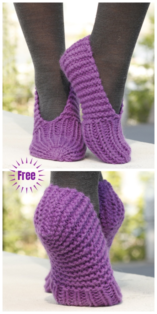 Stockinette Stitch Knit Lollipop Slippers Free Knitting Pattern