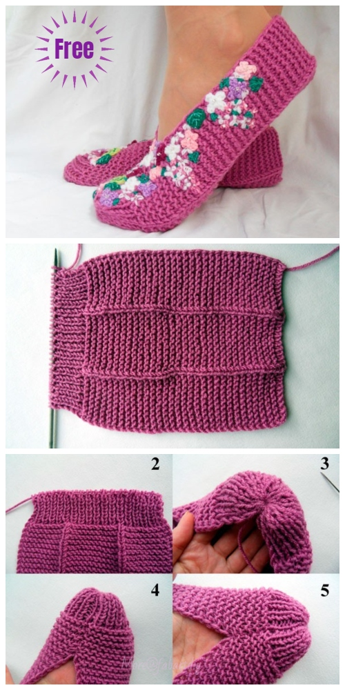 Stockinette Stitch Knit Flower Lilac Slippers Free Knitting Pattern