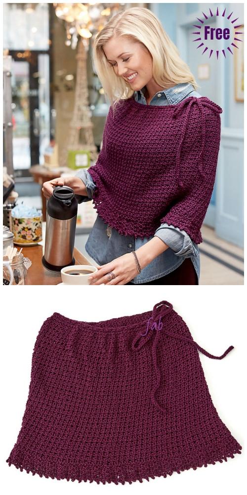 Tunisian Crochet Lace Poncho Free Crochet Pattern