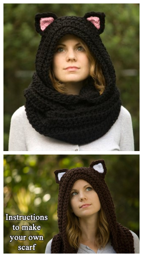 Crochet Cat Scoodie Hooded Scarf  Crochet Pattern