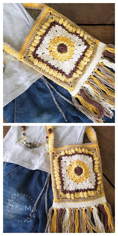 Boho Sunflower Bag Free Crochet Pattern