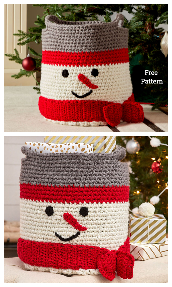 Christmas Snowman Basket Free Crochet Patterns