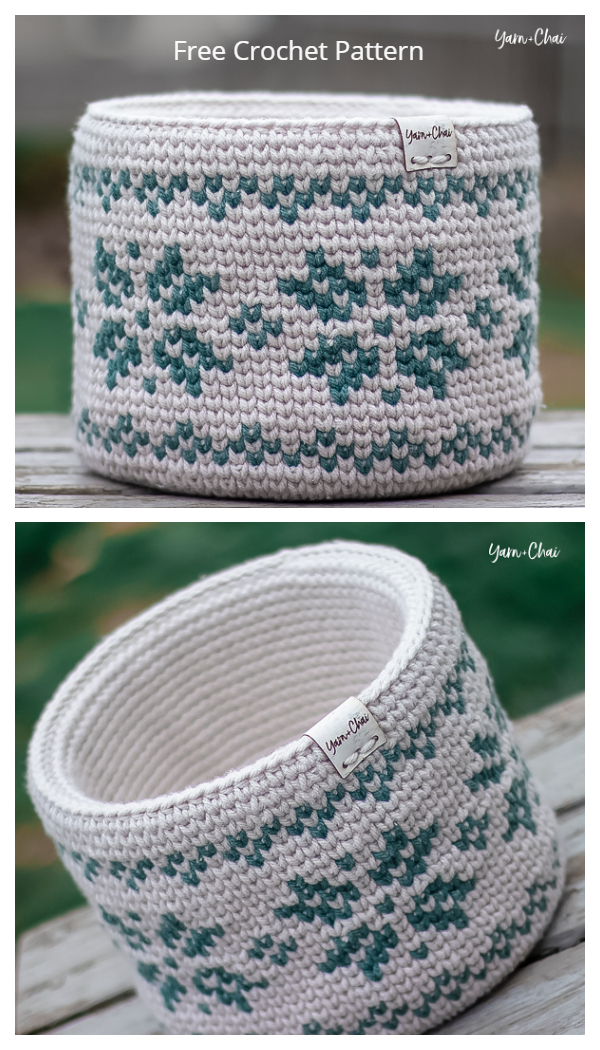 Fair Isle Basket Free Crochet Patterns