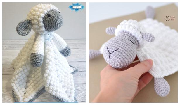 Lamb Baby Lovey Security Blanket Free Crochet Patterns