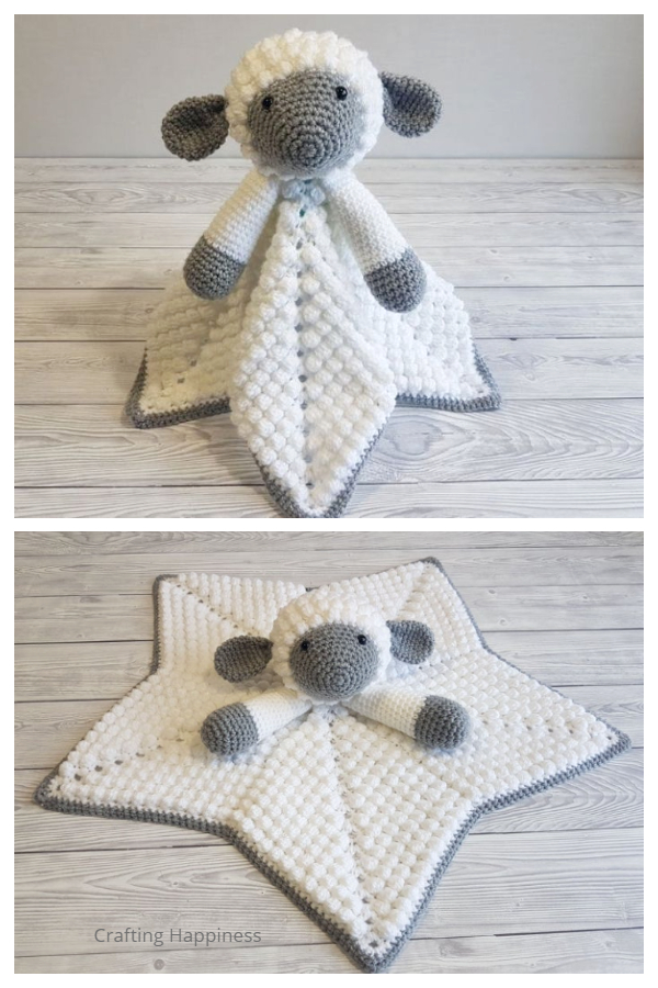 Snuggle Lamb Baby Lovey Security Blanket Crochet Patterns