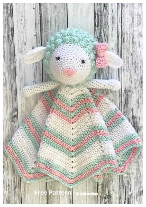 Little Lamb Baby Lovey Blanket Free Crochet Patterns