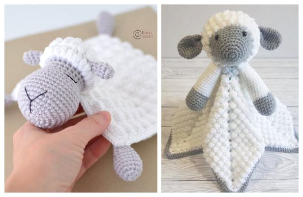 Sheep Safety Lovey Blanket Free Crochet Patterns