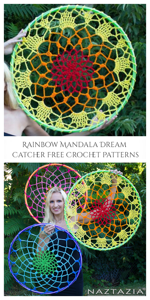 Rainbow Mandala Dream Catcher Free Crochet Patterns + Video