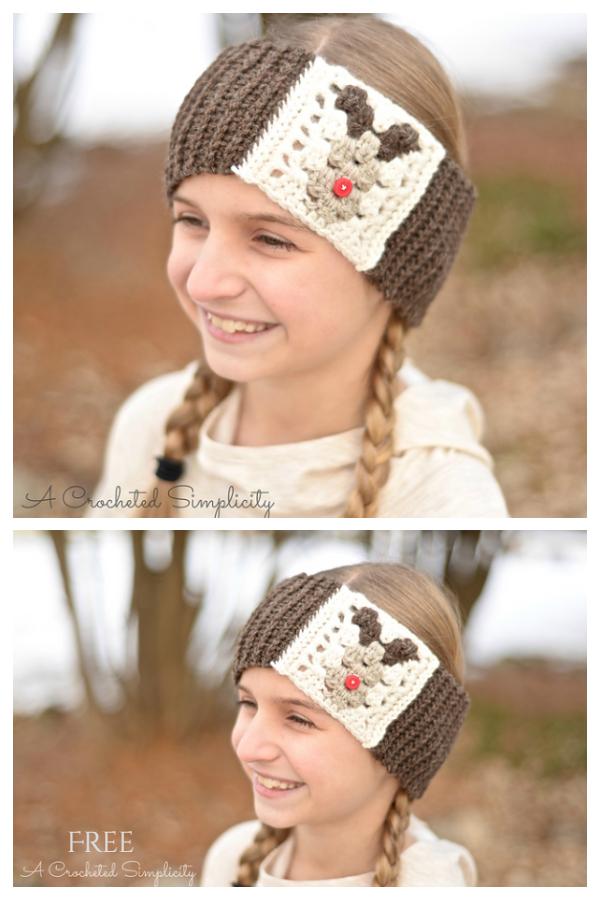 Reindeer Headwarmer Free Crochet Pattern