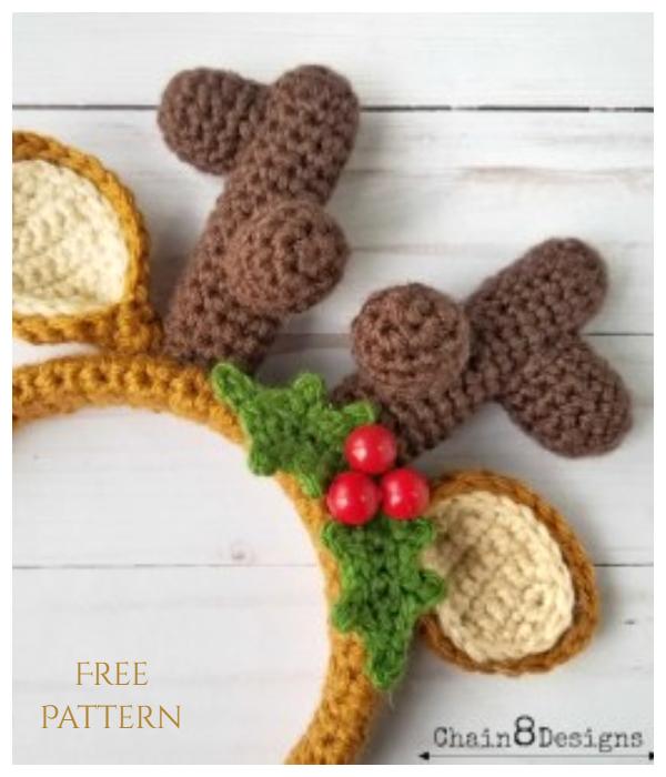 Festive Reindeer Headband Free Crochet Patterns