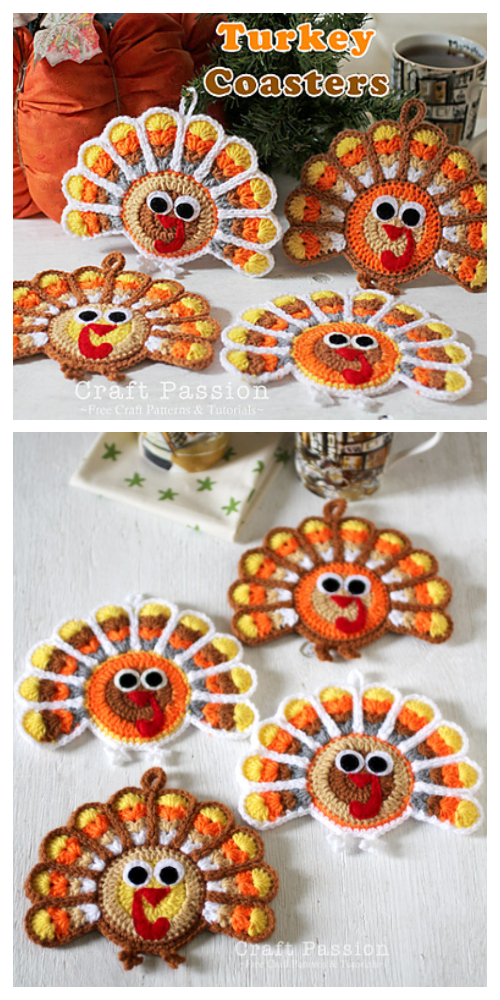 Turkey Coasters Free Crochet Patterns