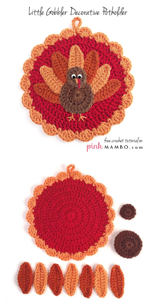 Little Gobbler Pot Holder Free Crochet Patterns