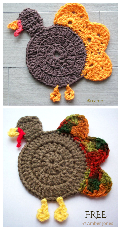 Gobble Turkey Coasters Free Crochet Pattern