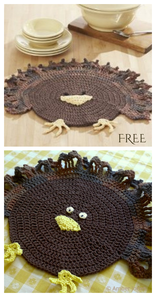 Turkey Placemat Free Crochet Pattern