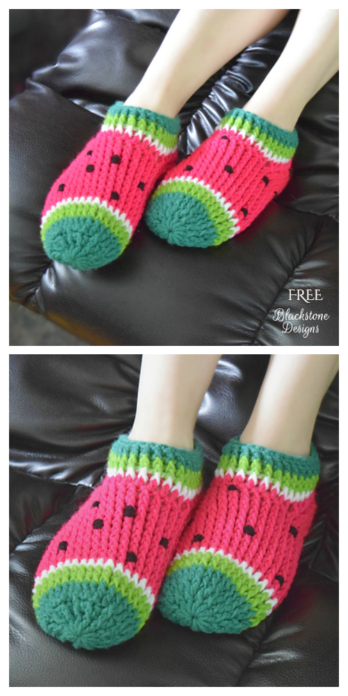 Watermelon Chunky Slippers Free Crochet Patterns - Adults
