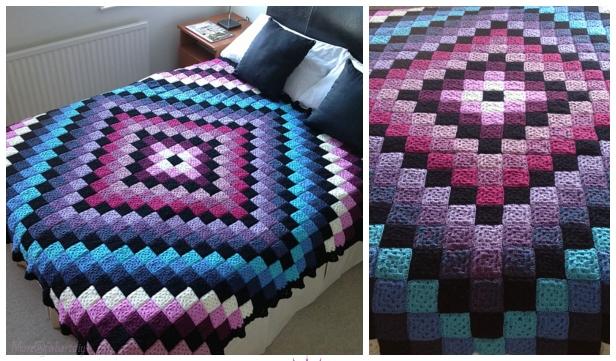 Around The World Quilt Granny Square Blanket Free Crochet