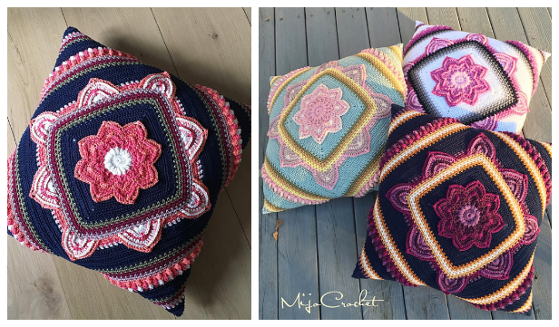 Boom Flower Square Pillow Free Crochet Patterns