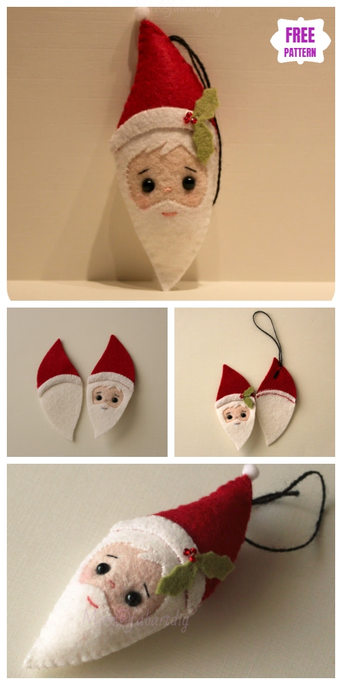 Christmas Craft: DIY Felt Santa Clause Ornament Free Sew Patterns & Tutorials