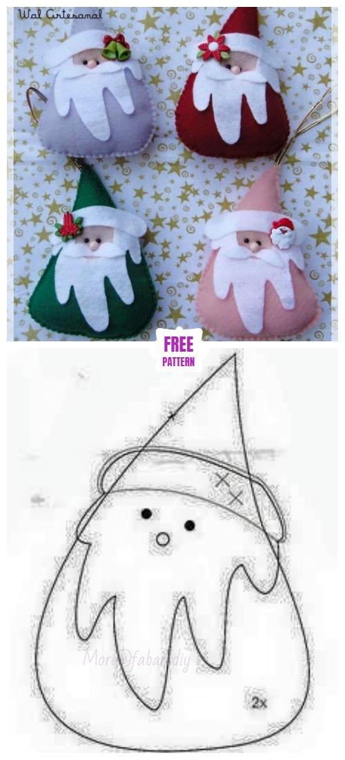Christmas Craft: DIY Felt Santa Clause Ornament Free Sew Patterns & Tutorials