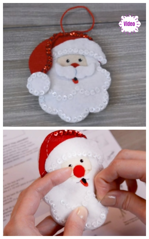 Christmas Craft: DIY Felt Santa Christmas Ornament Video Tutorial