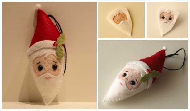 Free Felt Christmas Gnome Pattern.Christmas Craft Diy Felt Santa Clause Ornament Free Sew