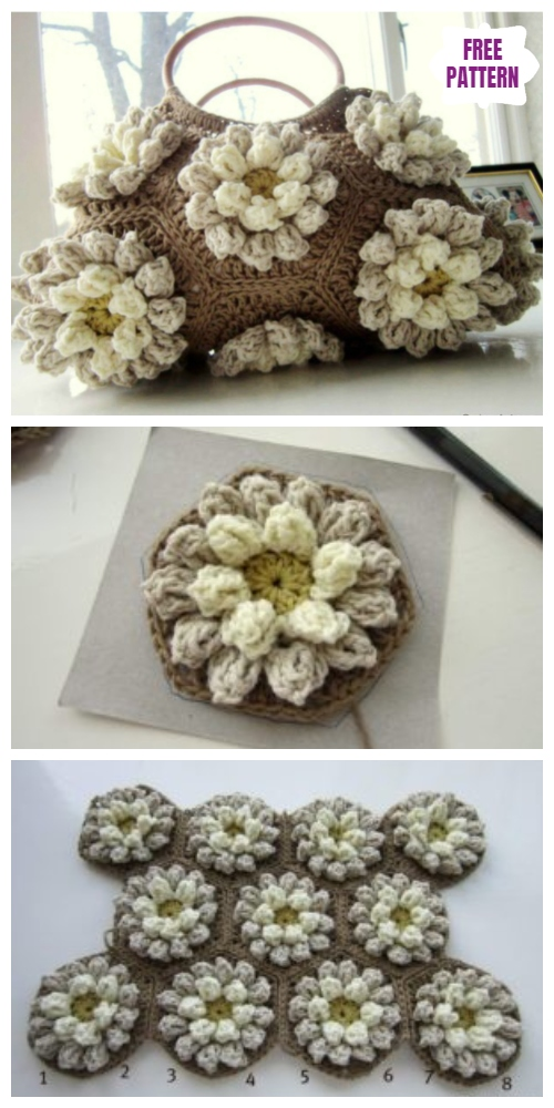 Crochet Almond Blossom Bobble Flower Bag Free Crochet Pattern