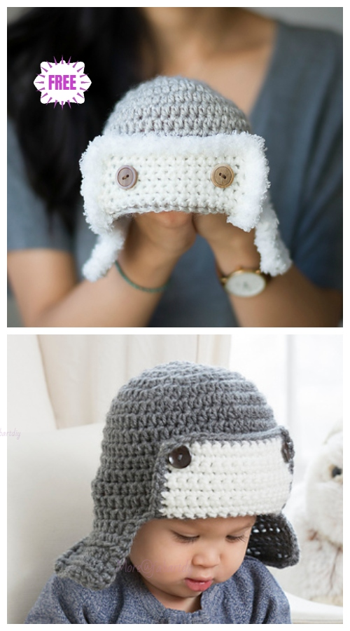 Crochet Baby Aviator Hat Free Crochet Patterns - Video