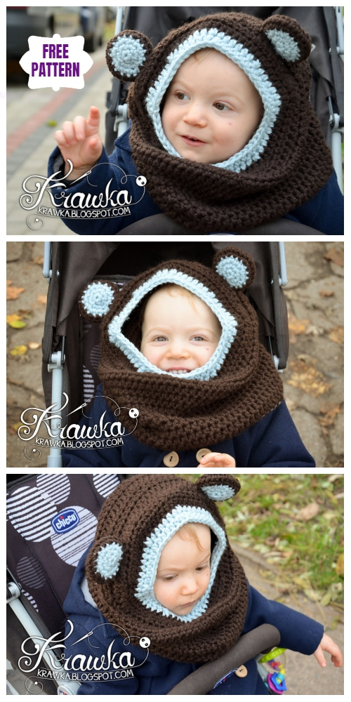 Crochet Little Bear Hooded Cowl Free Crochet Patterns